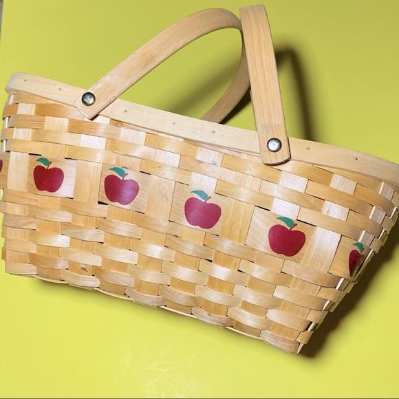 VTG Fall Apple painted fruit gather wicker basket